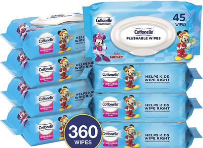 Cottonelle Flushable Toddler Wet Wipes 8 Flip-Top Packs Fragrance Free  (360 Ct Wipes Total)