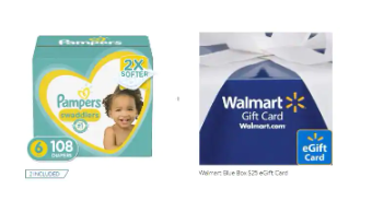 Get A $25 Walmart eGift Card with purchase of 2 Pampers Swaddlers Diapers