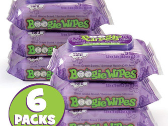 Boogie Wet Wipes For Baby and Kids, Nose, Face, Hand and Body, Sensitive, Grape Scent, 6PKS
