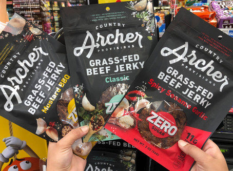 Country Archer Grass-Fed Beef Jerky with ZERO SUGAR In Three Exciting Flavors