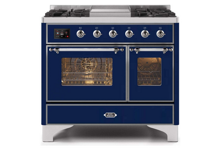 """Ilve 40"""" Majestic II Series Dual Fuel Natural Gas Range with 6 Sealed Burners and Griddle"""