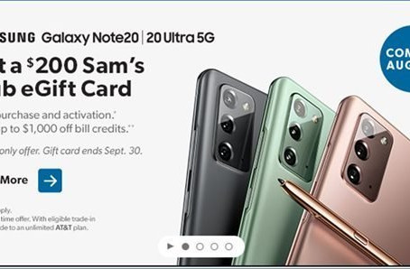 Sam's Club Online Only | Get up to $1200 in Savings on the Samsung Note20 or Note20 Ultra 5G