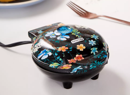 Urban Outfitters Dash Mini Waffle Maker -Black Floral