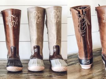 Jane   Monogram Tall Duck Boots
