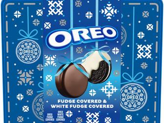 OREO Fudge and White Fudge Covered Chocolate Sandwich Cookies Tin Gift Set