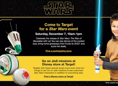 Target Star Wars In Store Event December 7, 2019