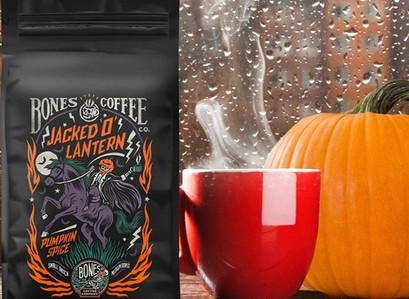 Bones Coffee Company Jacked 'O' Lantern Pumpkin Spice Ground Coffee Beans and More!
