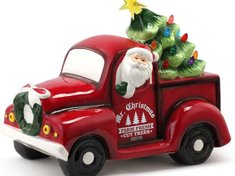 Mr. Christmas Ceramic Truck with Tree 14""
