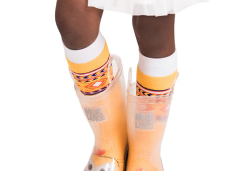 Muk Luks Kids Clear Molly Rainboots w/ 5 Pack Socks