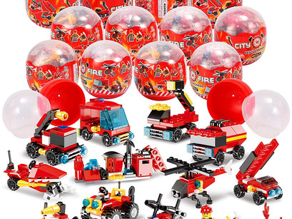 12 Pcs Prefilled Easter Eggs with Fire Trucks Building Blocks