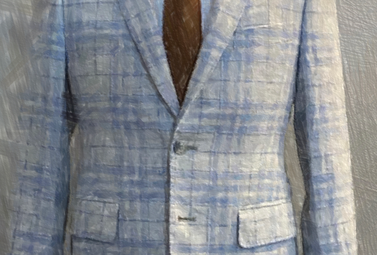 Light Blue Check Jacket (Pure Linen)