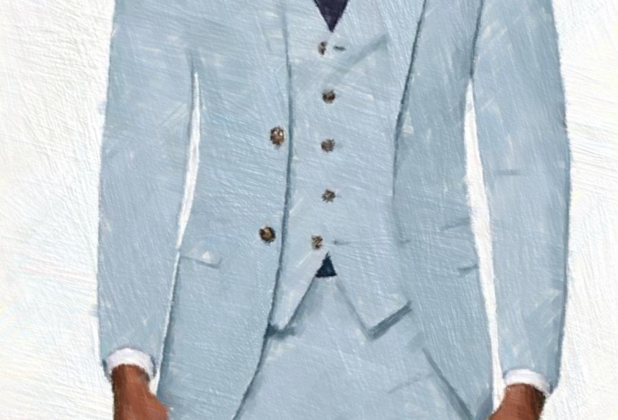 Light Blue Linen Suit (3 Pcs)