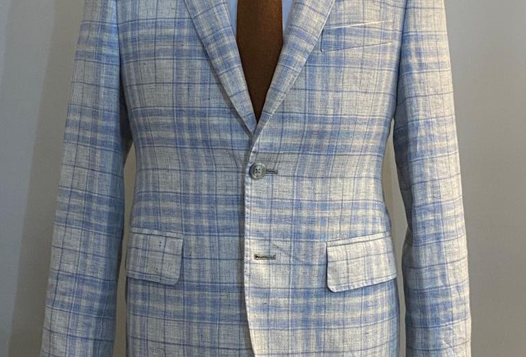 Light Blue Check Jacket (Pure Linen)