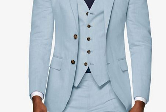 Light Blue Linen Suit (3 Pcs)