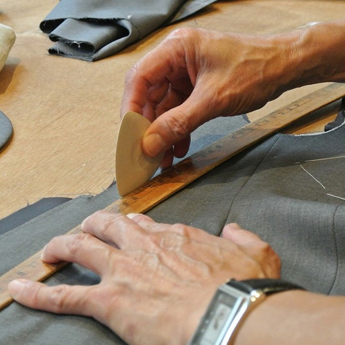An important step in bespoke suit making