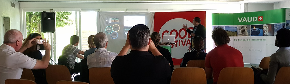 Dr. Thémans, Deputy of the Vice-President for Innovation at EPFL speaking about social innovation at the Good Festival