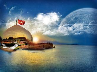 imam-husain-roza-ya-hussain-a-s-mehdi on the water with blue sky