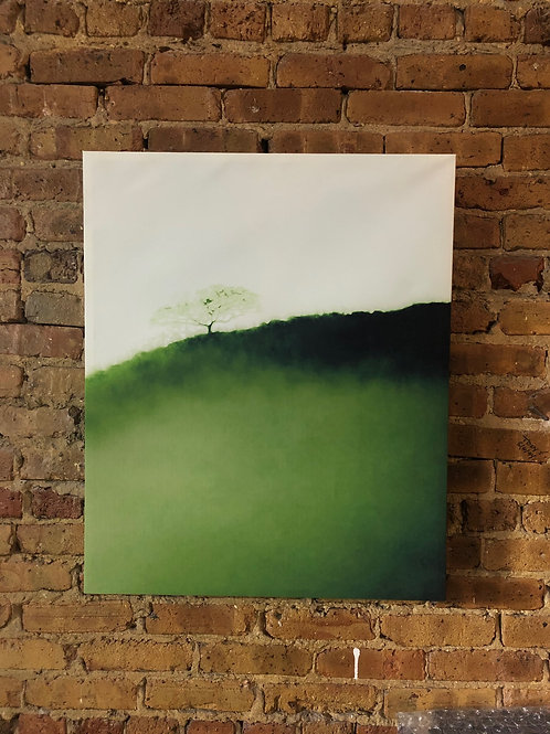 Green Hill on Distressed Wood
