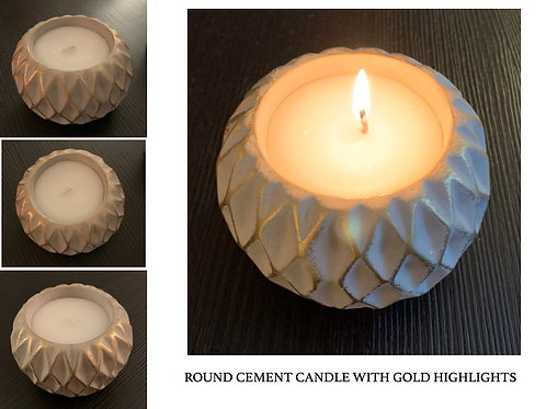 Round candle in cement holder pair