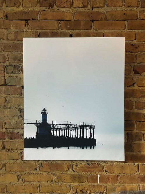 Lighthouse on Distressed Wood