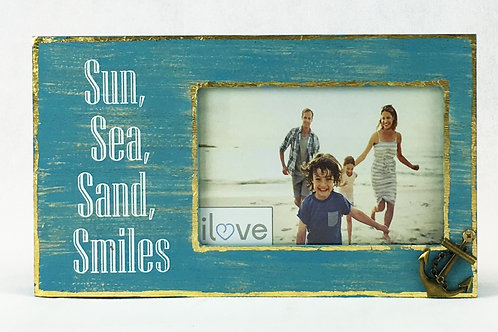 Sun, Sea, Anchor wood frame w/ charm
