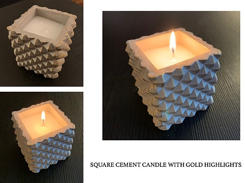 Square Candle in Cement Holders (pair)