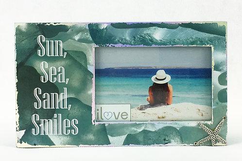 Sun, Sea, Starfish wood frame w/ charm