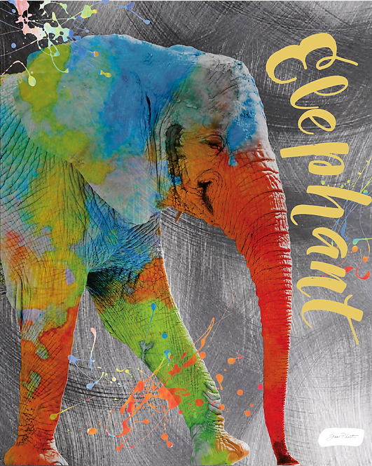 Elephant on Textured Metal- Jean Plout