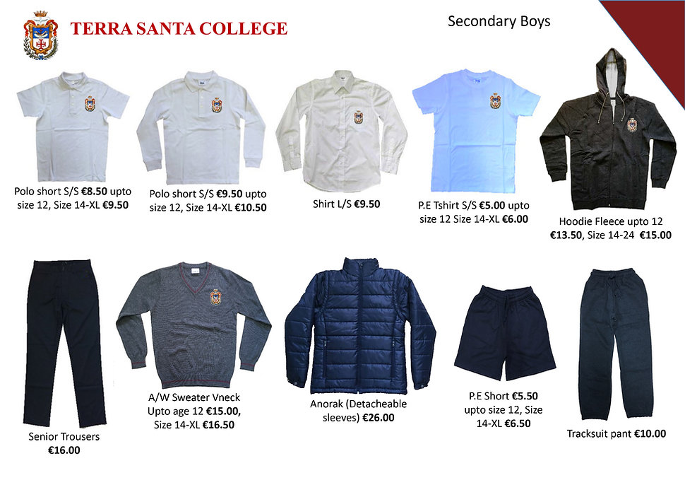 Terra Santa Secondary School Uniform lea