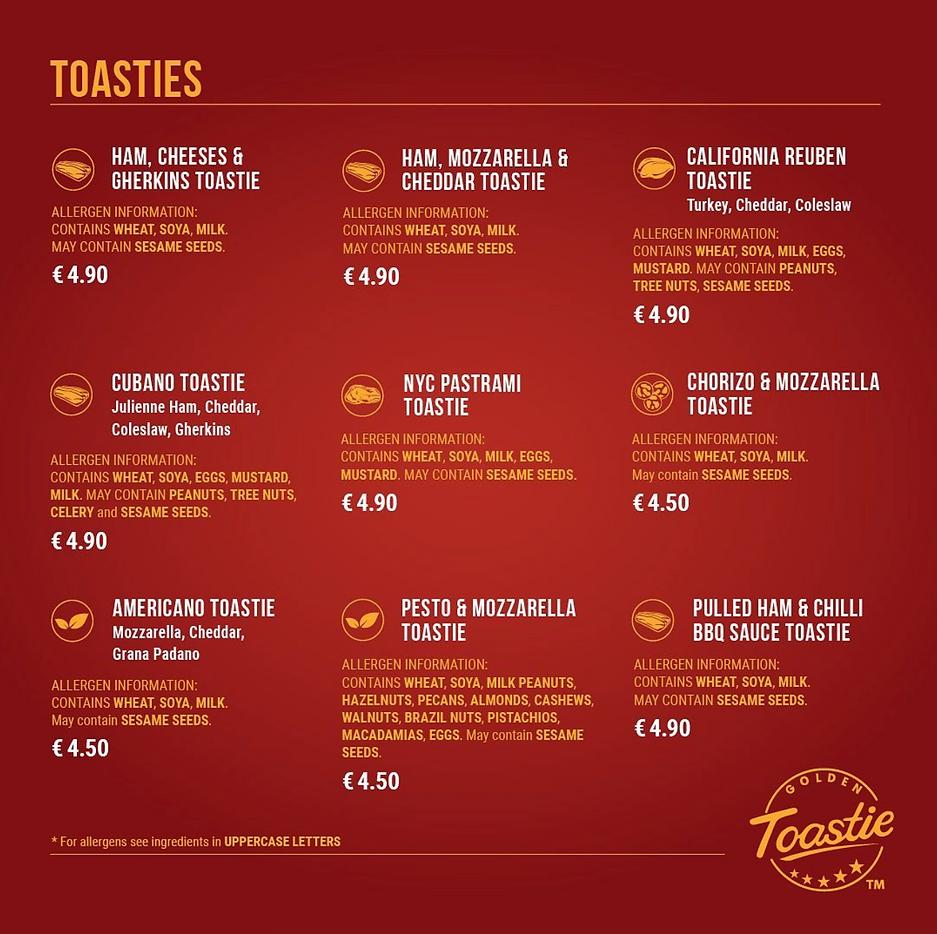 Golden Toastie menu Dublin