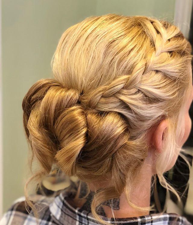 Beautiful loose braided updo on beautifu