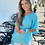 Thumbnail: Washable Silk Side Tie Top - Bahama Blue