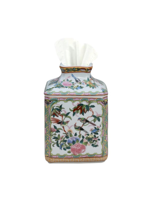 Rose Canton Porcelain Tissue Holder