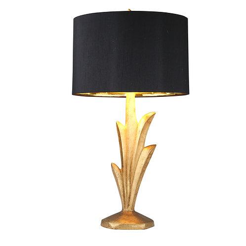 Gold Leaf Lamp w/ Black Shade