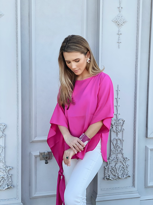 Washable Silk Side Tie Top - Palm Beach Pink