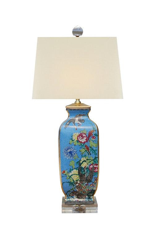 "26"" Blue Floral/Birds Porcelain Lamp"