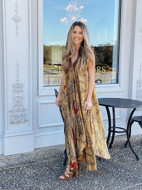 Silk Dress - One Size Fits All - Champagne/Mustard
