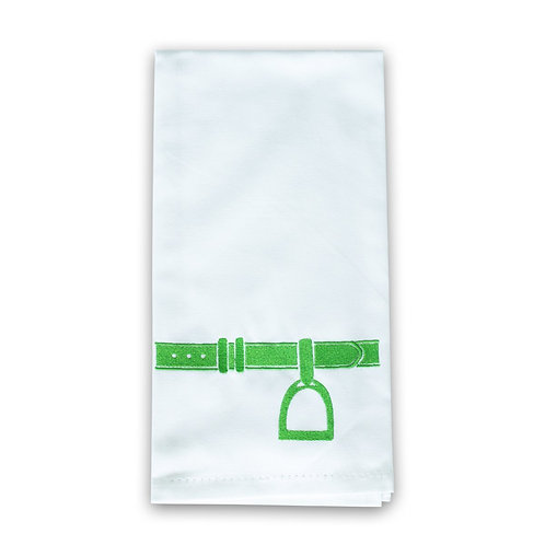 Embroidered Tea Towel - Green Stirrup