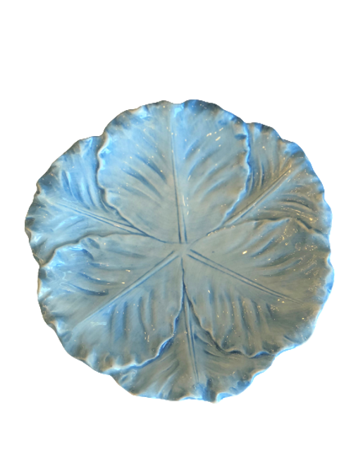 Au Bain Marie Majolica Cabbage Plate - Blue Dinner