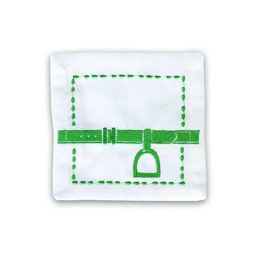 Embroidered Cocktail Napkins S/4 - Green Stirrup