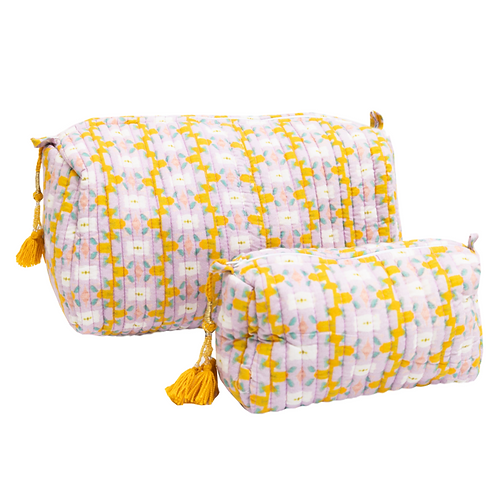 Lavender Quilted Cosmetic Bag - 2 Sizes Available