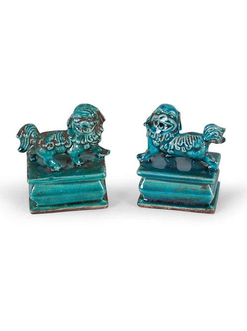 Porcelain Foo Dogs (Pair) - Green