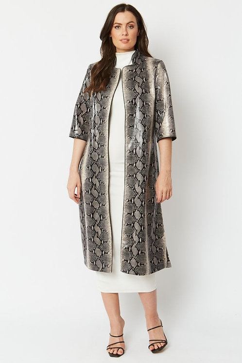 Faux Suede Snake Duster Coat - Black