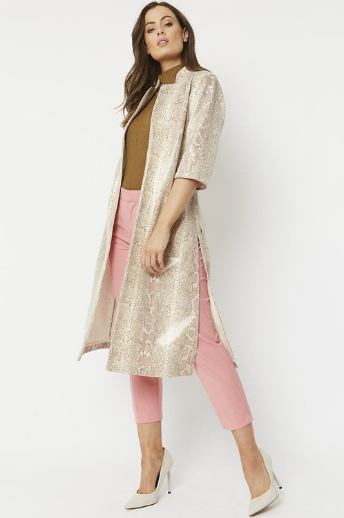Faux Suede Snake Duster Coat - Cream