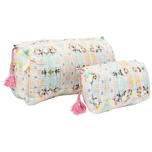 Pink Quilted Cosmetic Bag - 2 Sizes Available