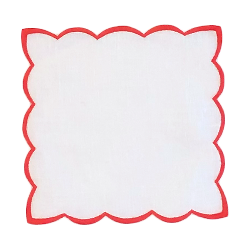 Scallop Cocktail Napkins - Set of 6 - Red