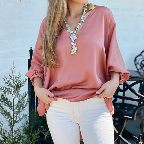 Washable Silk Austin Top - Dusty Pink - Size Small