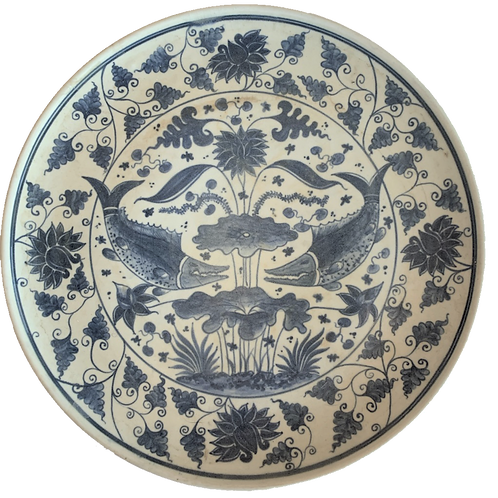 "12"" Blue and White Porcelain Fish Plate"