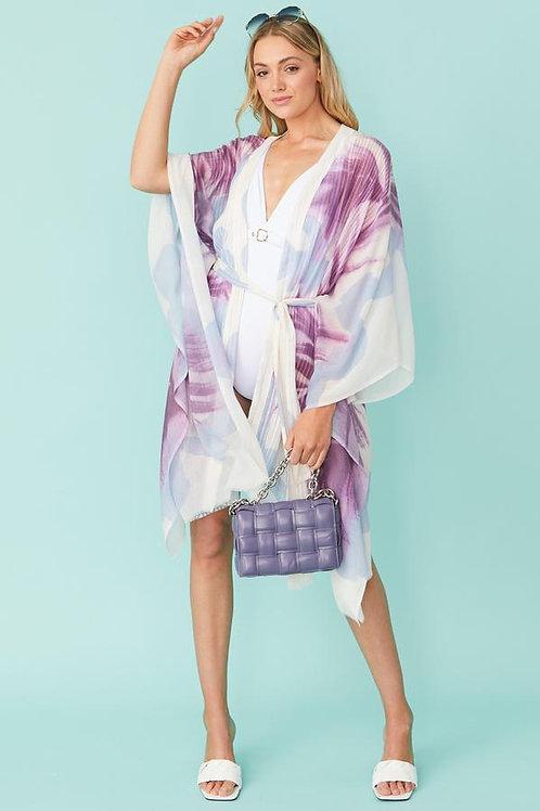 Cashmere Blend Kimono - Lavender