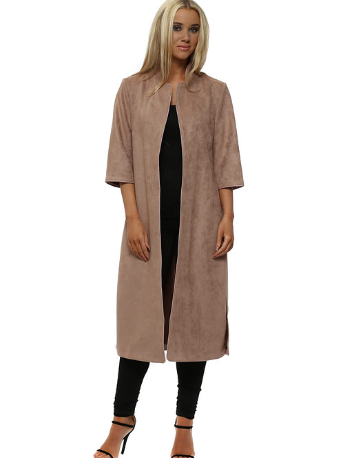 Faux Suede Duster Coat - Taupe